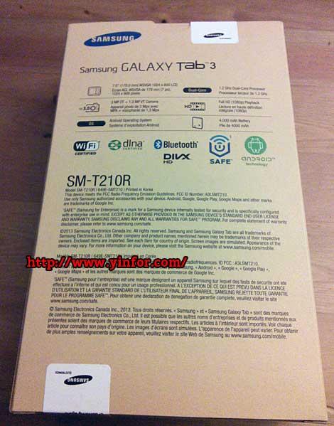 Samsung Galaxy Tab 3 box back