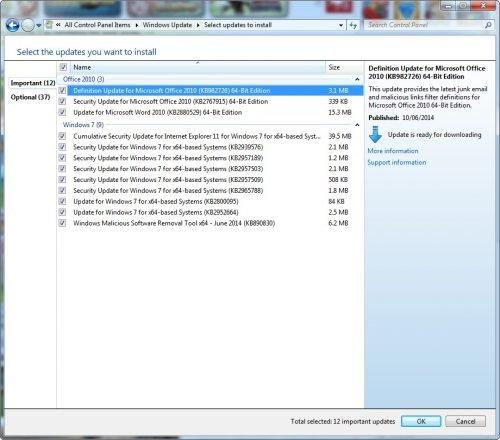 windows 7 update in June 2014