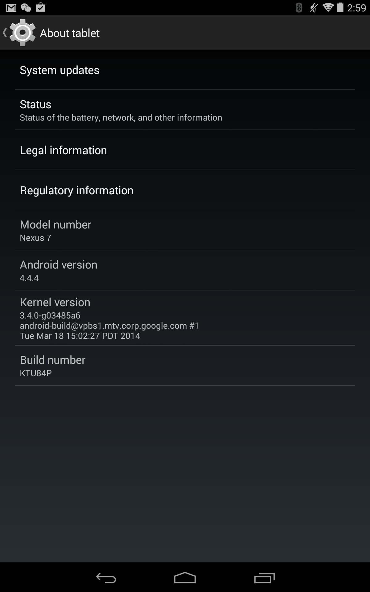 Android 4.4.4 About tablet