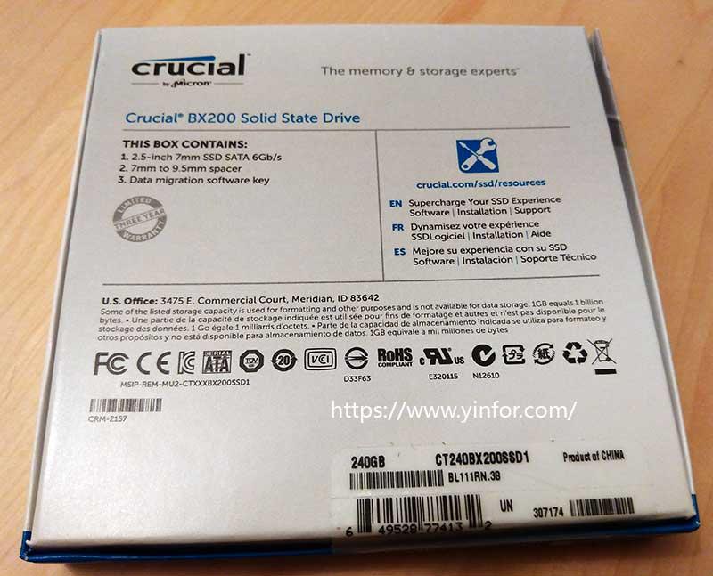 Crucial BX200 240GB box back