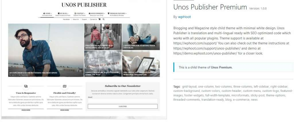 unos publisher theme